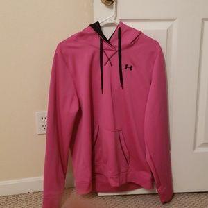 Bright pink and black under armour hoddie